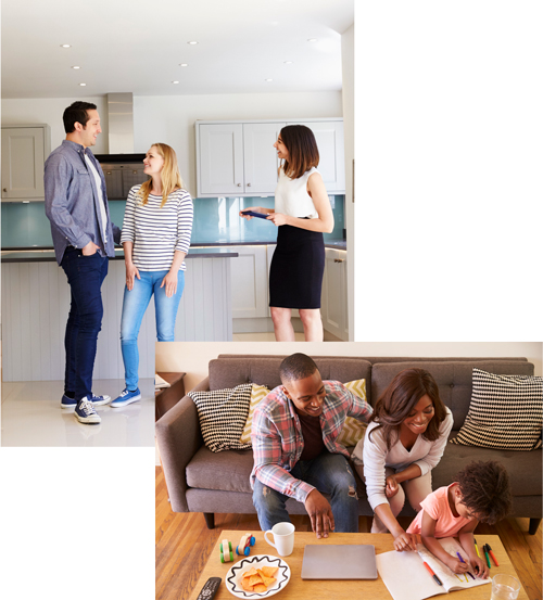 family-sitting-on-sofa-as-daughter-woman-man-meeting-estate-agent
